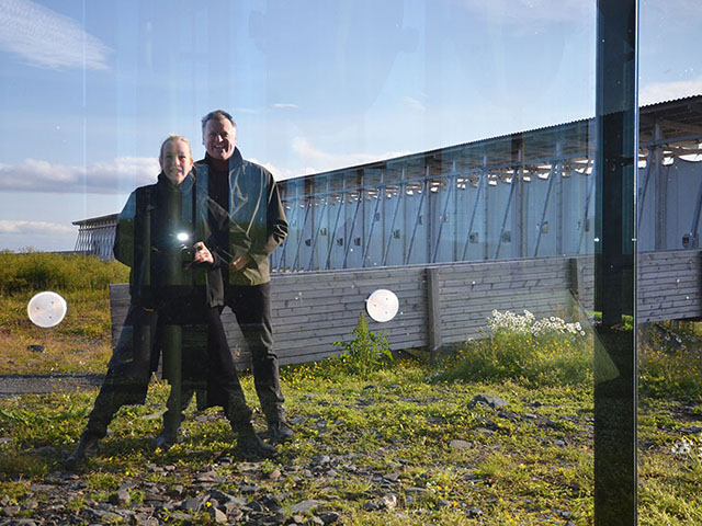 Lindy Atkin and Stephen Guthrie at Peter Zumthors Witchcraft Memorial in Norway's Arctic Circle – Photograph by Lindy Atkin 2012