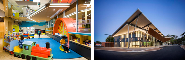 Left: Murray Bridge Library by Hassell. Image by Sam Noonan. Right: Thebarton Community Centre by MPH Architects. Image by David Sievers.
