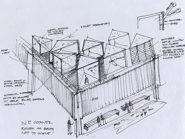 Glenn-Murcutt's sketch of the Australian Islamic Centre by Glenn Murcutt and Elevli Plus Architects - Image Courtesy: NGV