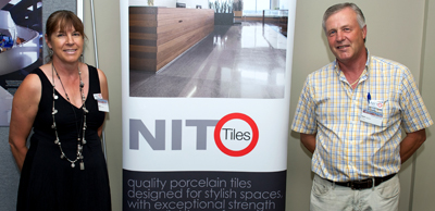 Kathy and Kym Hargrave representing Qld Regional Awards Sponsor Nito Tiles.