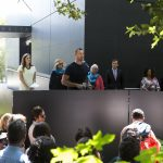 Olympic gold medallist and exhibition contributor Ian Thorpe addressing guests at the opening of Australia's exhibition, The Pool. Photo: Alexander Mayes