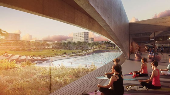 Gunyama Park and Aquatic Centre at Green Square by Andrew Burges Architects in association with Grimshaw and TCL.